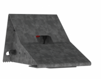 Set wheel chocks, metal, including vehicle detection sensors and wall bracket